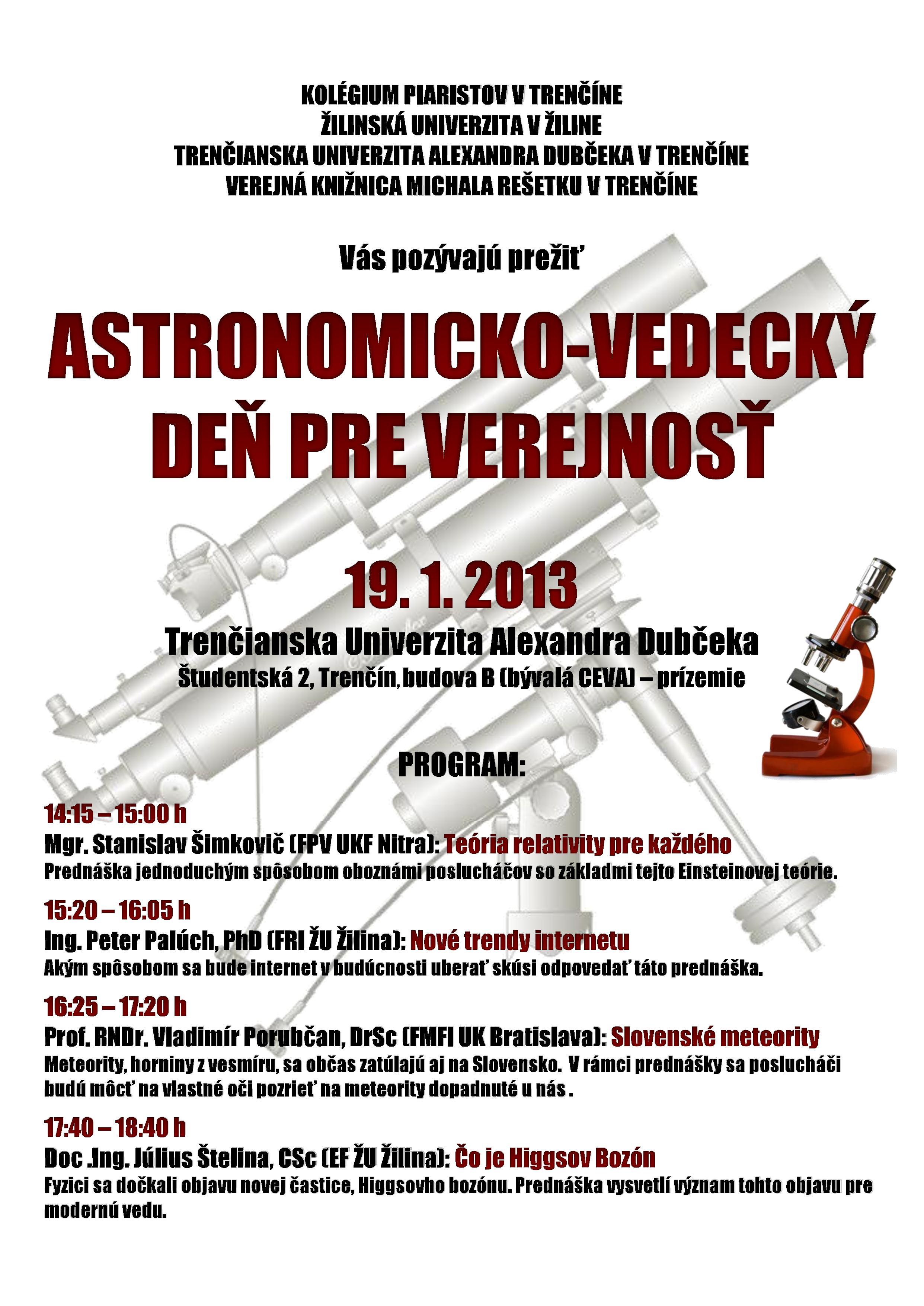 Pozvánka na podujatie – Astronomicko-vedecký deň pre verejnosť
