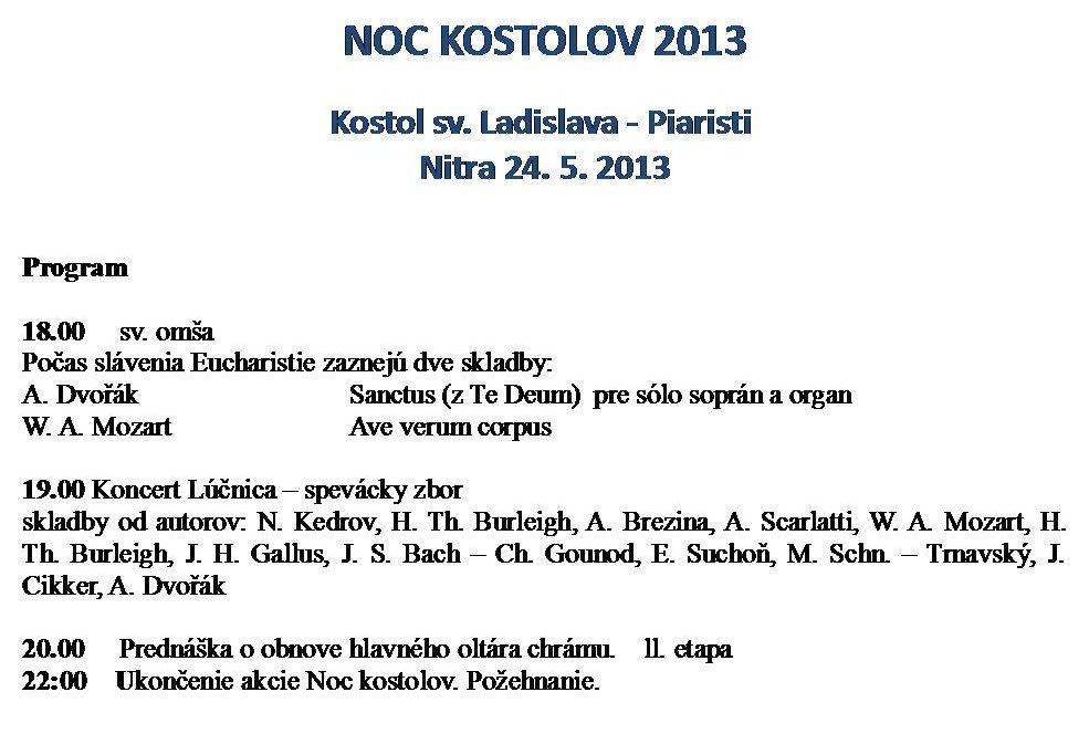 Program Noci kostolov v Nitrianskom kostole sv. Ladislava