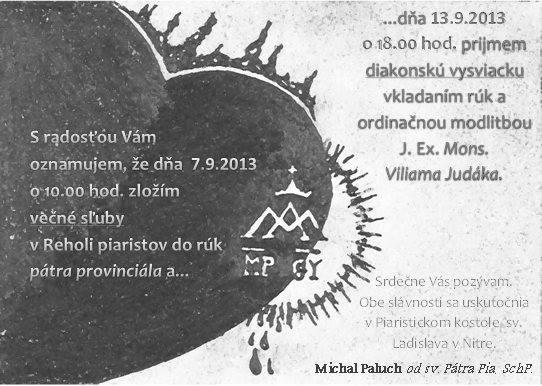 Oznam o večných sľuboch nášho spolubrata Michala Palucha