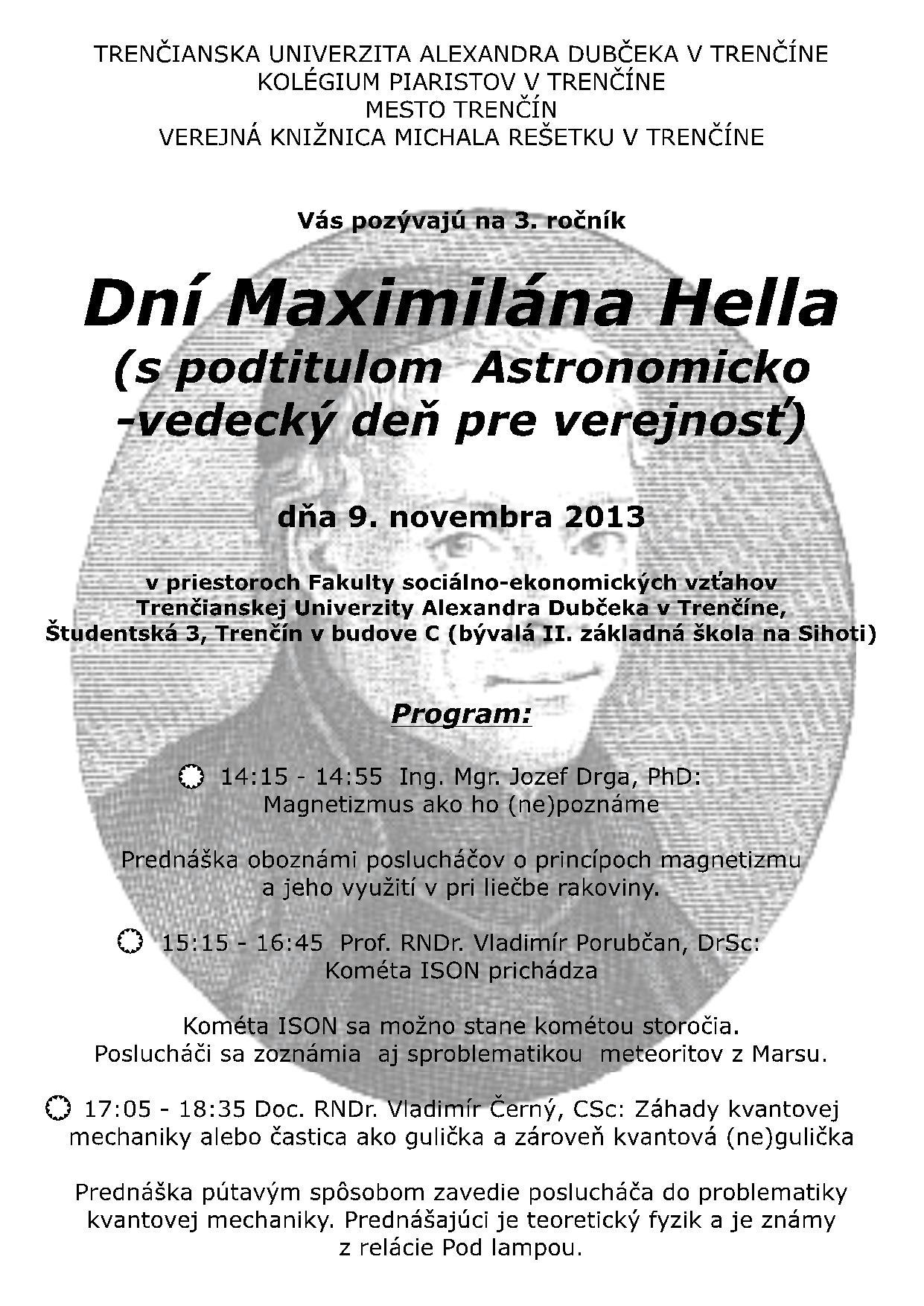 Pozvánka na 3. ročník dní Maximiliána Hella