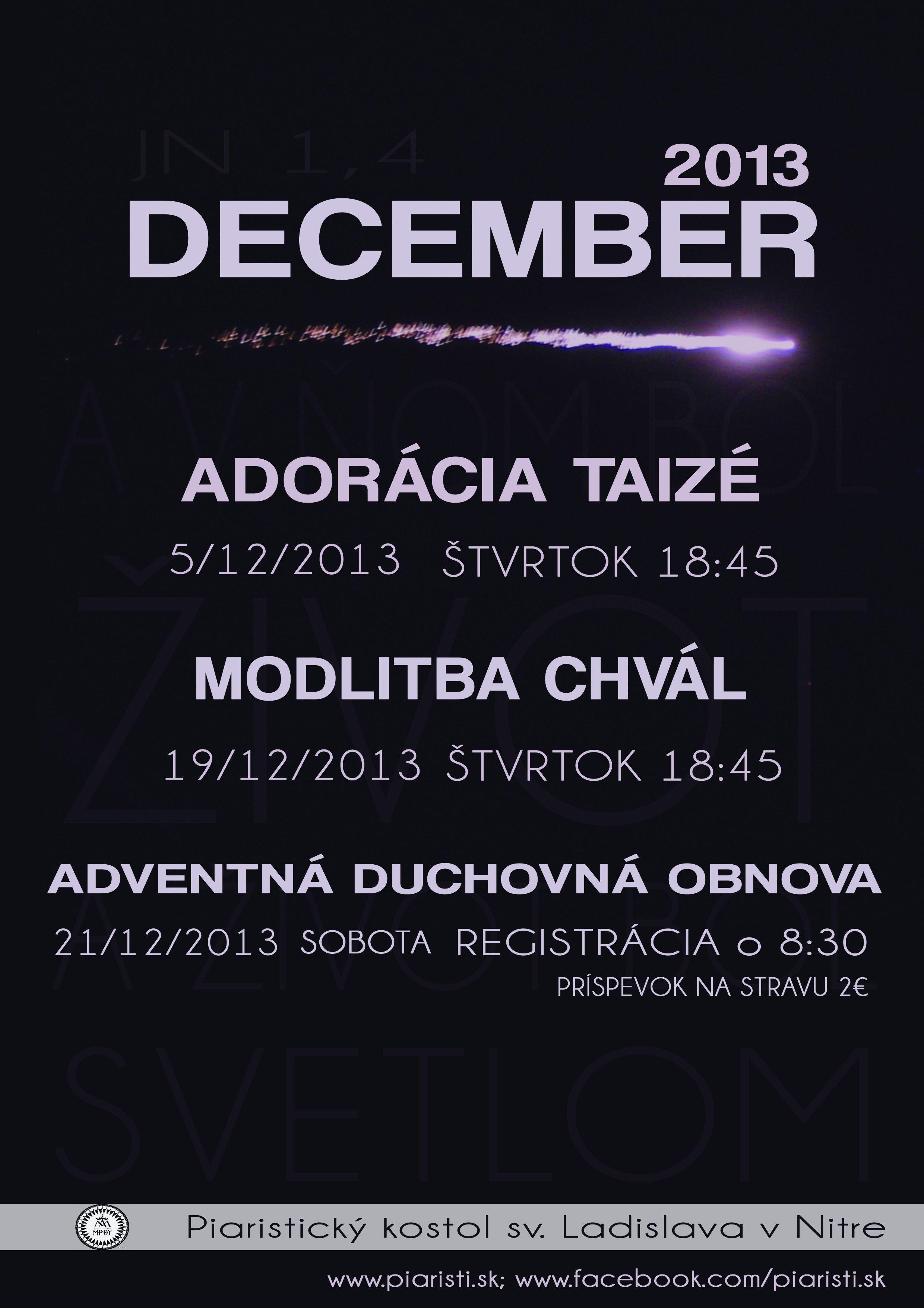 Decembrové mlédežnícke aktivity v Nitrianskom kostole sv. Ladislava